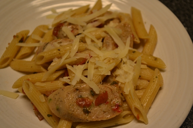 Chicken sausage and penne