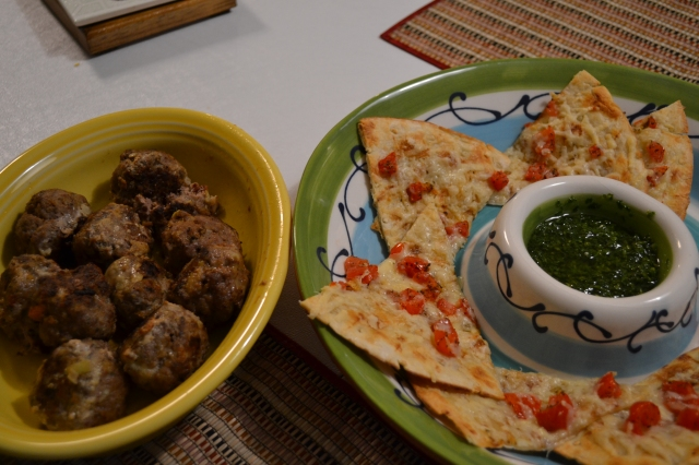 Meatballs and flatbread