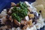 Diced pork, black beans and chimichurri